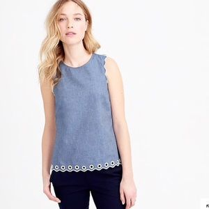 J.Crew Chambray Scalloped Top  with Grommets